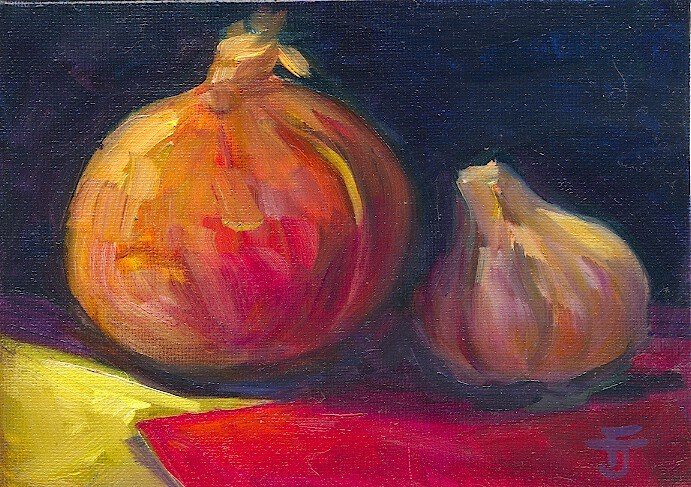 """Onion and Garlic"" original fine art by Francine Dufour~Jones"