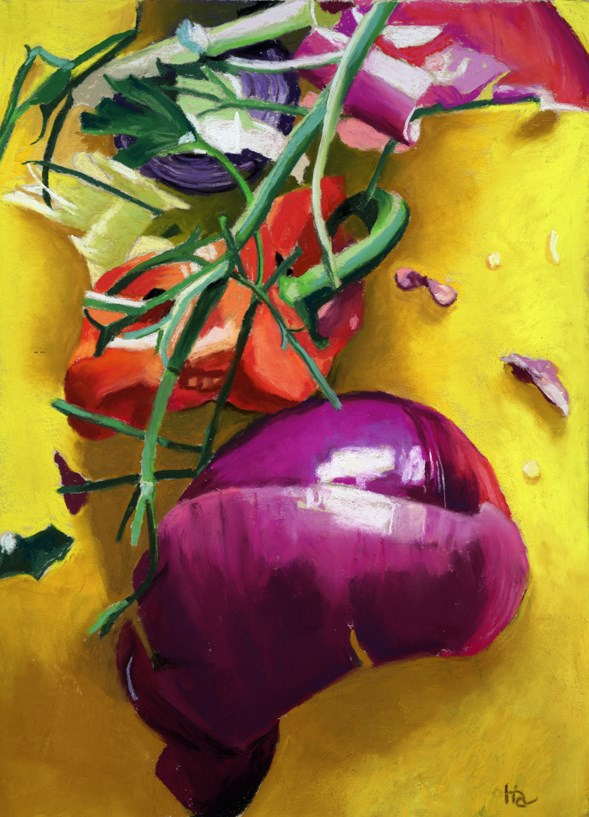 """vegetable scraps painting"" original fine art by Ria Hills"