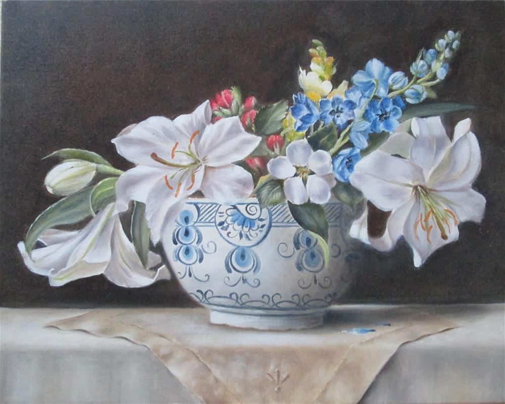 """White Lillies in Delft"" original fine art by Barbara Wagner"