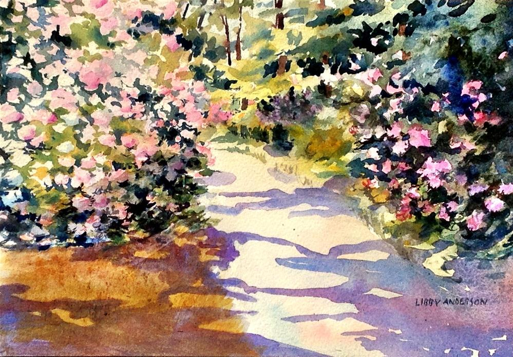 """""""Longwood Rhododendrons"""" original fine art by Libby Anderson"""