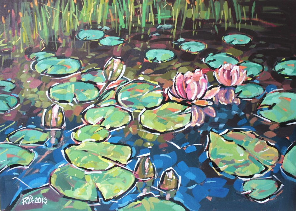 """Waterlily Abstraction 8"" original fine art by Roger Akesson"