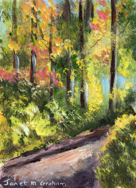 """Autumn Pathway ACEO"" original fine art by Janet Graham"