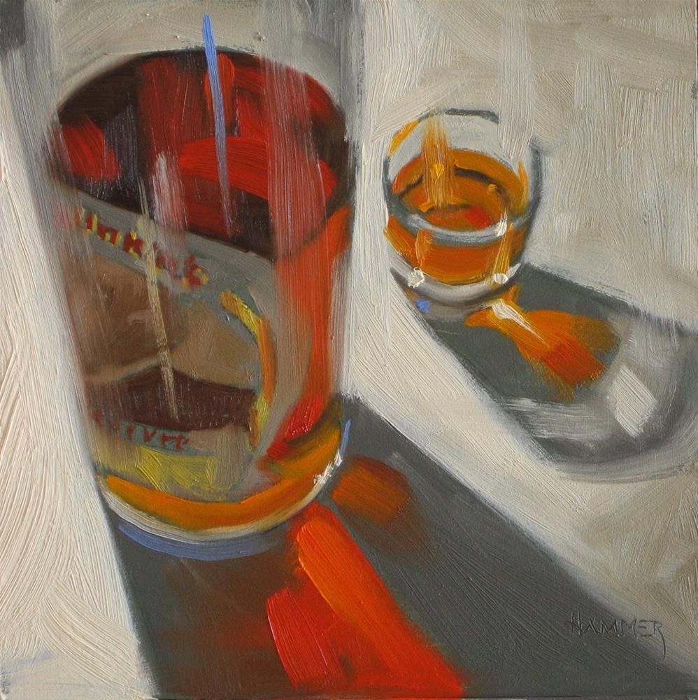 """""""Pappy Van Winkle 20 year  6x6  oil"""" original fine art by Claudia Hammer"""