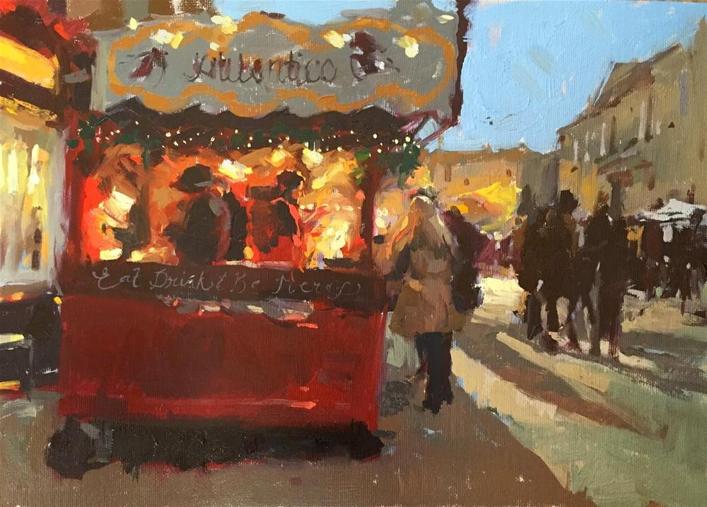 """Christmas market"" original fine art by Haidee-Jo Summers ROI"