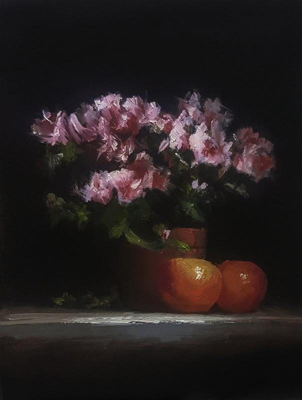 """Azaleas with Oranges"" original fine art by Neil Carroll"