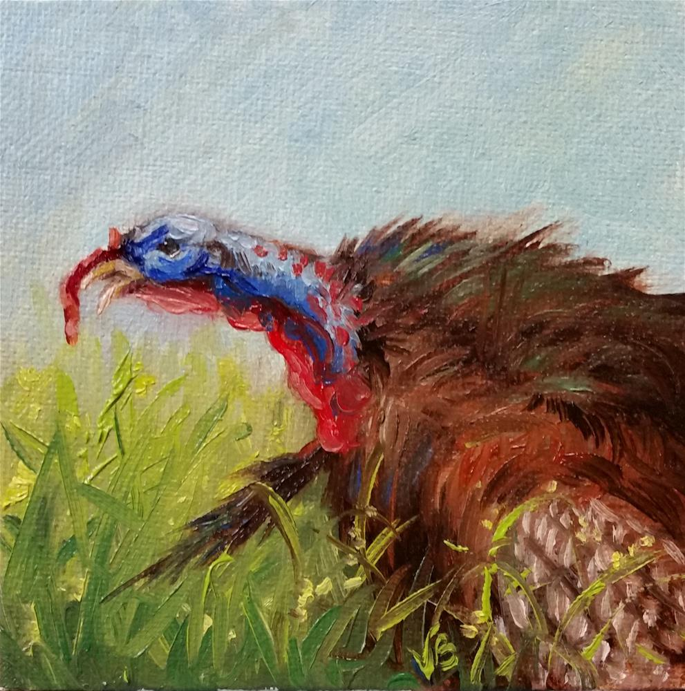 """Spring Gobbler-mini painting"" original fine art by Veronica Brown"