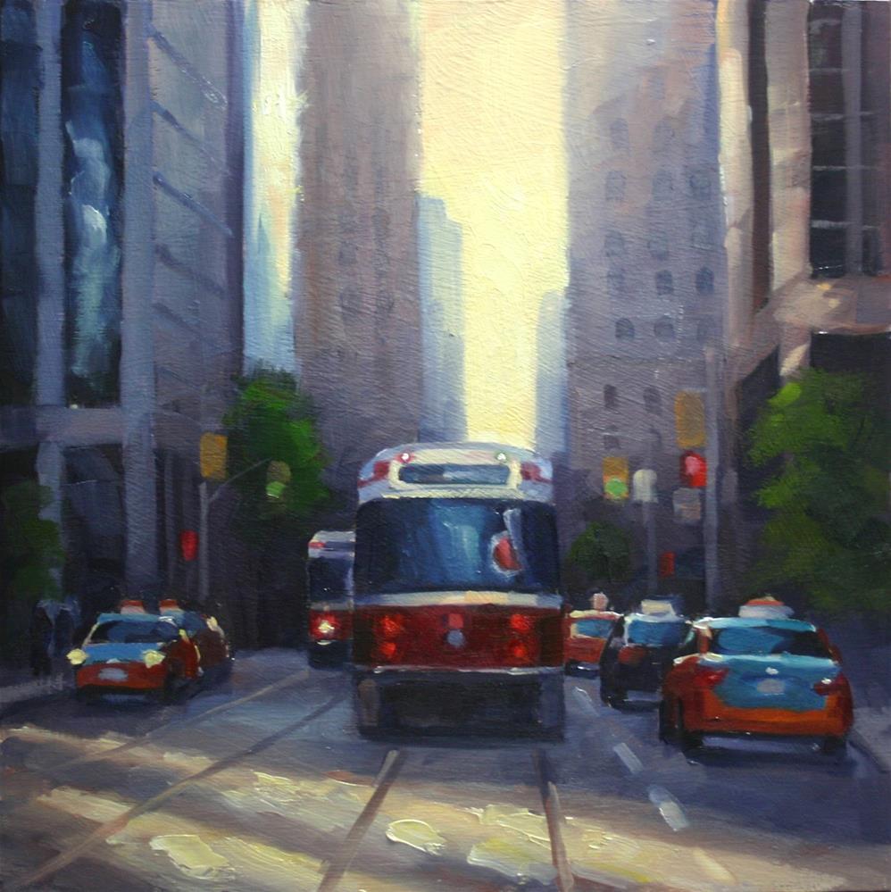 """Spring Sun Reflections on King Street, Toronto"" original fine art by Catherine Jeffrey"