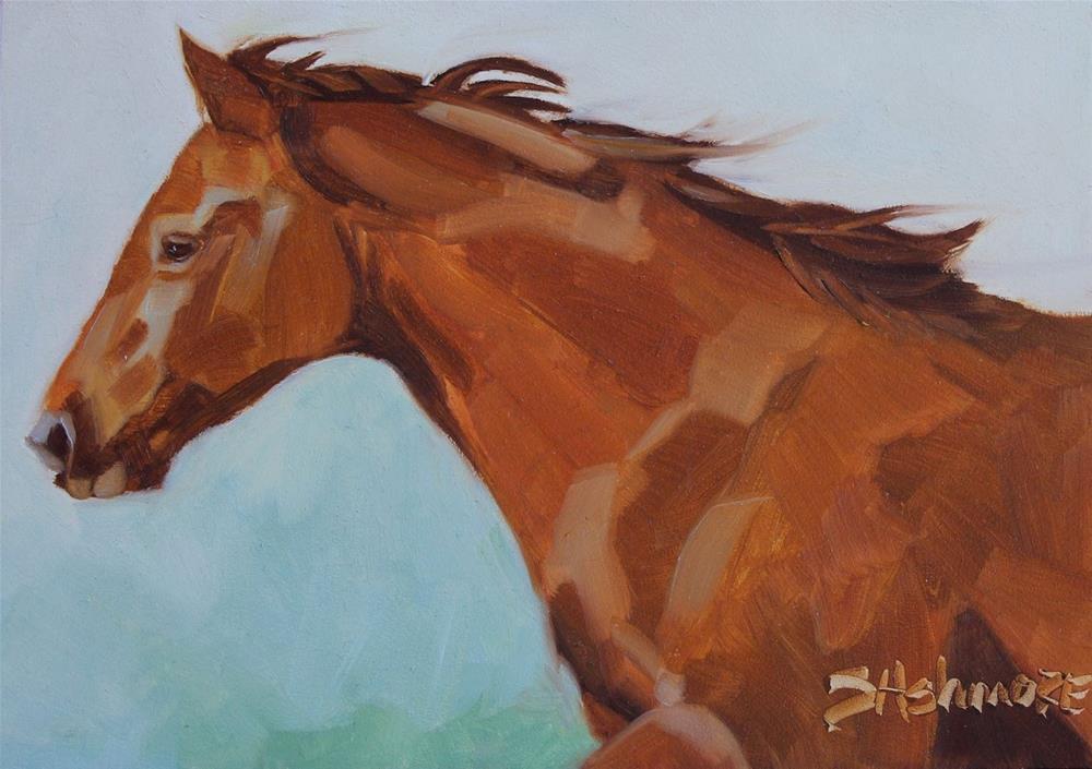 """''Wind in her hair''"" original fine art by Susan Ashmore"