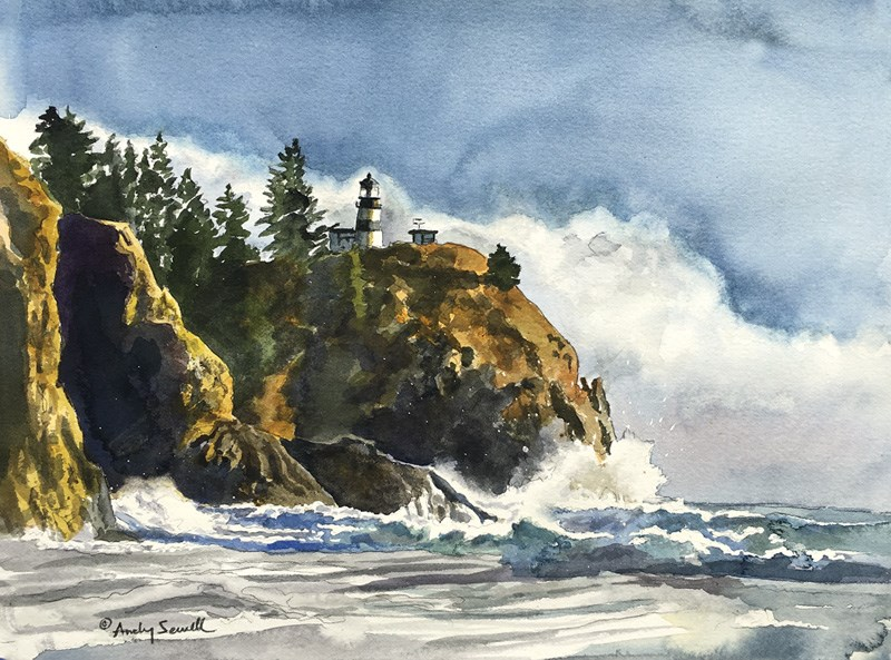 """""""Cape Disappointment light"""" original fine art by Andy Sewell"""