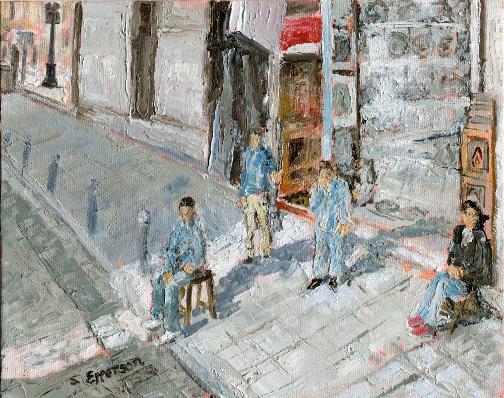 """Shopkeepers of Istanbul"" original fine art by Stanley Epperson"