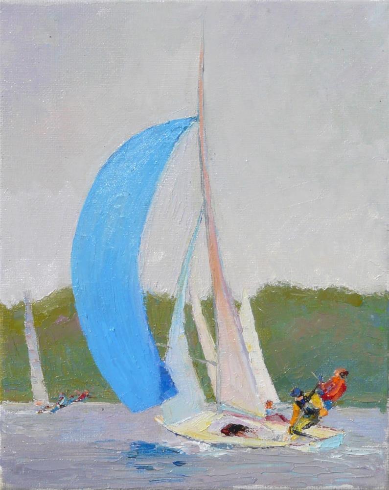 """Racing Boats,seascape,oil on canvas,10x8,price$500"" original fine art by Joy Olney"