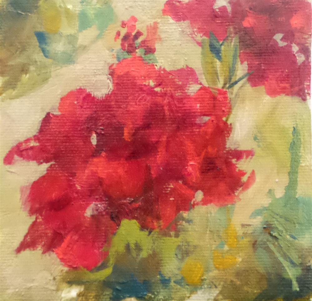 """Red is my power color"" original fine art by Susie Monzingo"