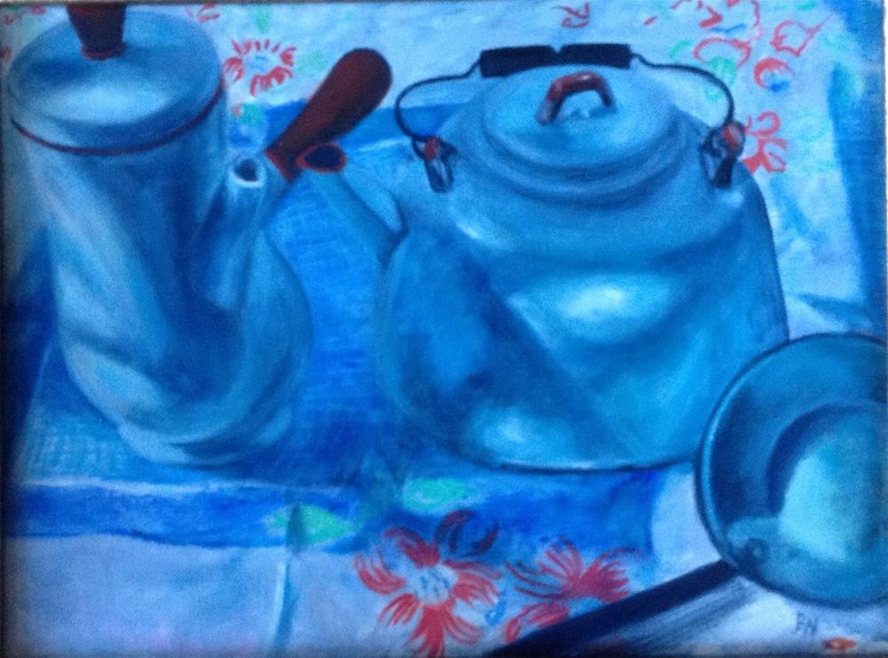 """""""White Enamelware with Tablecloth"""" original fine art by barbara yongue"""