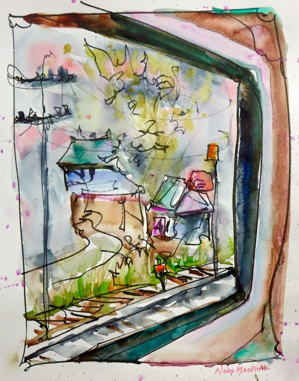 """""""train ride on a rainy day"""" original fine art by Nora MacPhail"""
