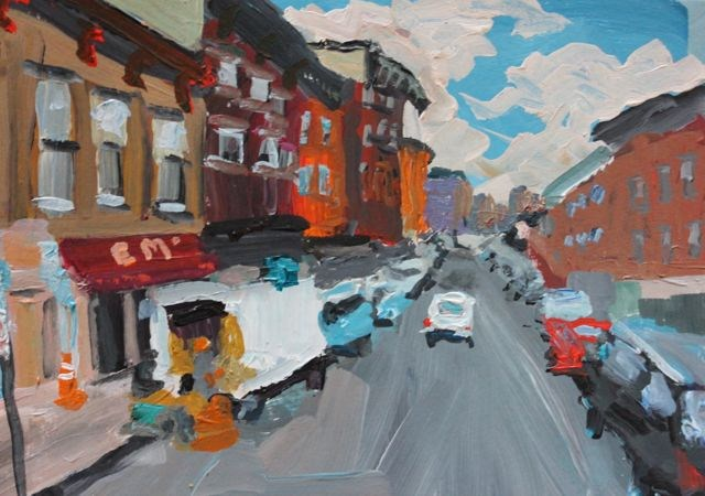 """""""Brooklyn's Smith Street, Non dominant challenge for DPW"""" original fine art by Christine Parker"""