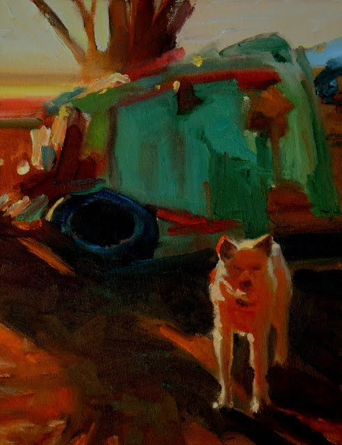 """""""Res Dog  paintings from the Ned Mueller workshop"""" original fine art by Robin Weiss"""