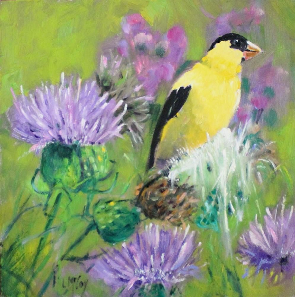 """Finch in a Thistle Field"" original fine art by Linda McCoy"