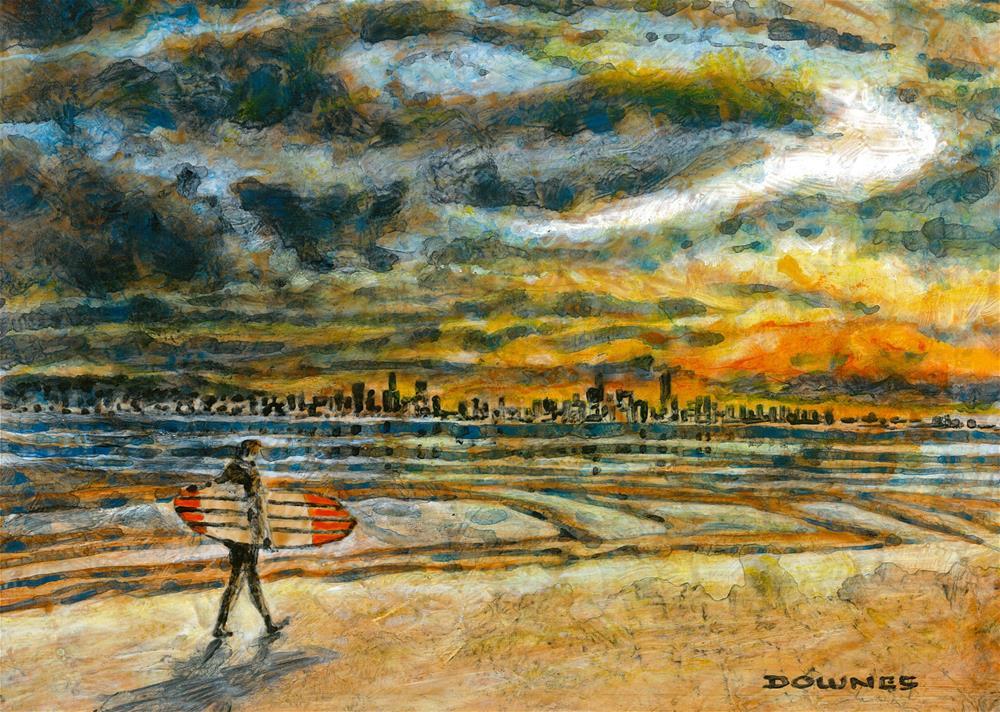 """231 SURFERS FROM SNAPPER ROCKS 3"" original fine art by Trevor Downes"