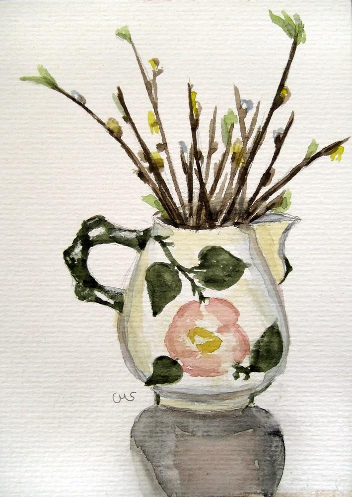 """""""Spring in the Milk Jug"""" original fine art by Ulrike Miesen-Schuermann"""