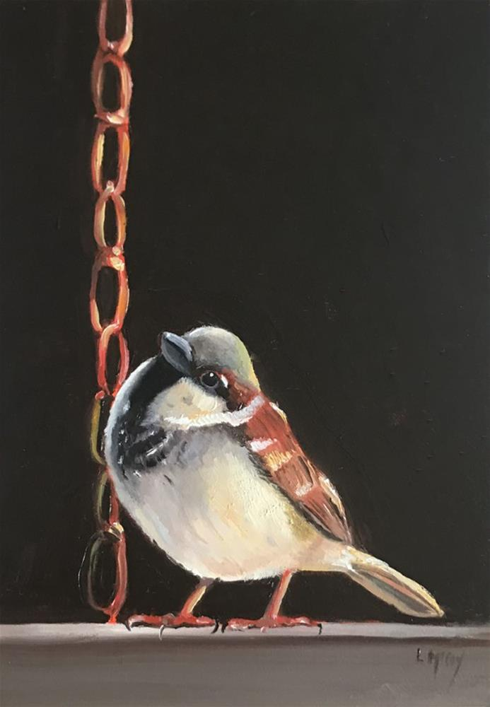 """""""Yes You Can! Sparrow Bird Oil Painting"""" original fine art by Linda McCoy"""