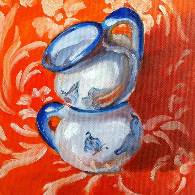 """Bluebird Dance, oil on canvas, 6x6"" original fine art by Darlene Young"