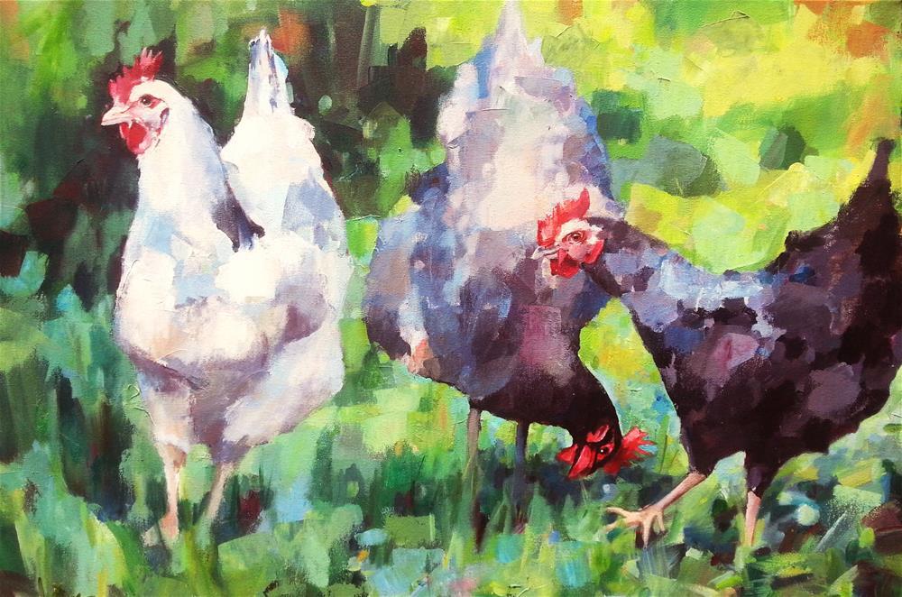 """Three French Hens"" original fine art by Nava Judith"