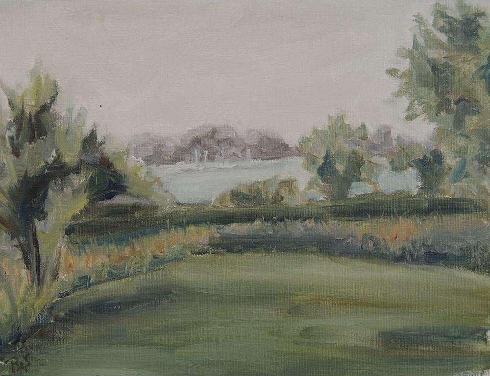 """Green on a Grey Day"" original fine art by Rachel Steely"