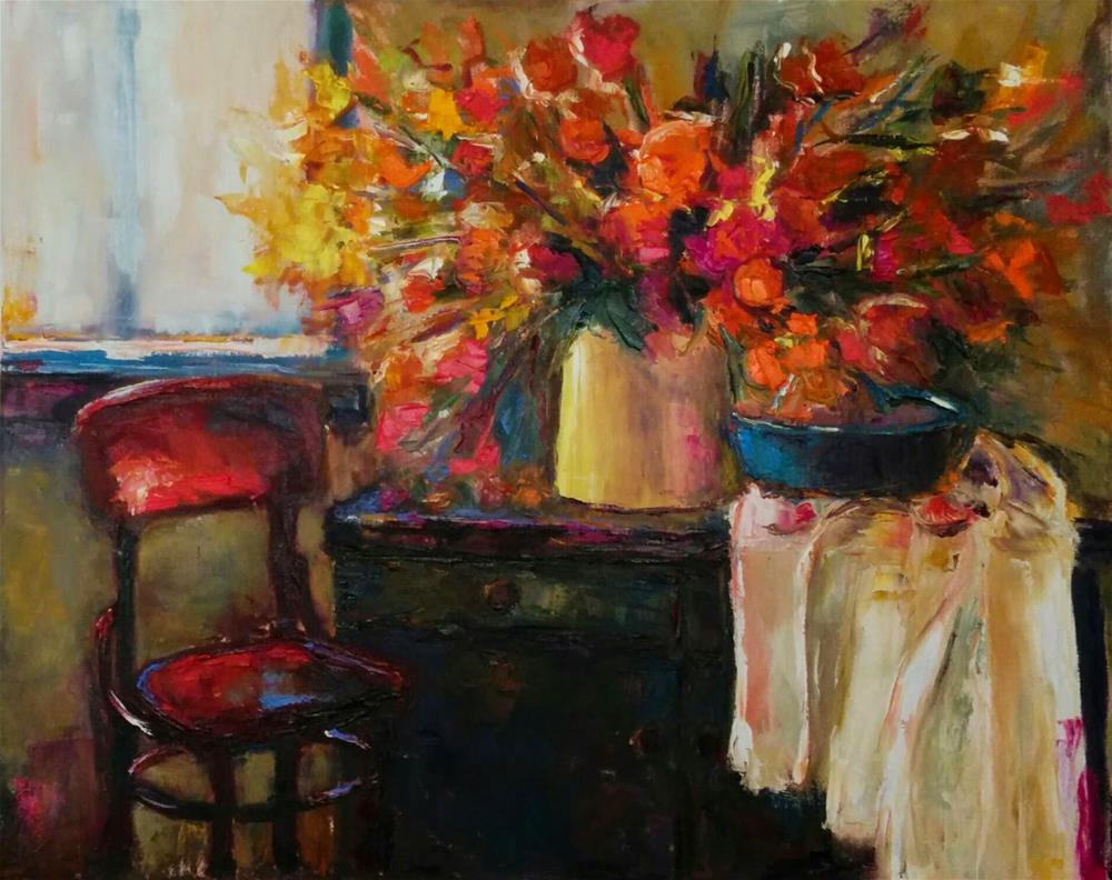 """Chair by the Window"" original fine art by pepa sand"