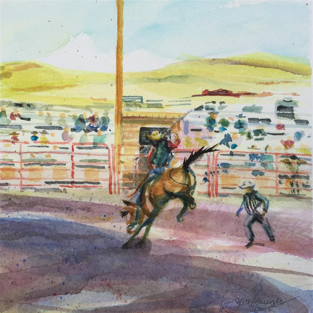 """Stampede Rodeo, Westclife, CO"" original fine art by Jean Krueger"