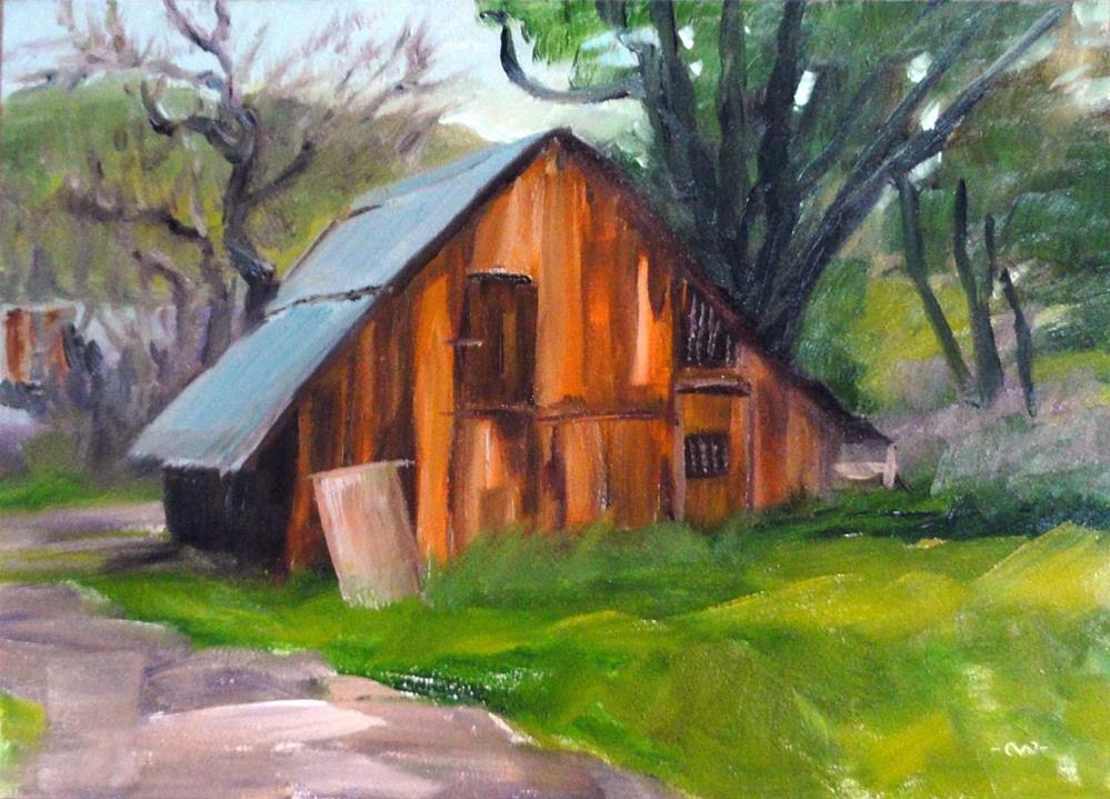 """Settled In (Barn at Tooby Ranch)"" original fine art by Cietha Wilson"