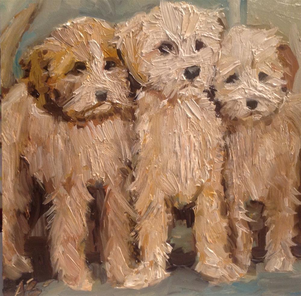 """Three Lab a doodles"" original fine art by Annette Balesteri"