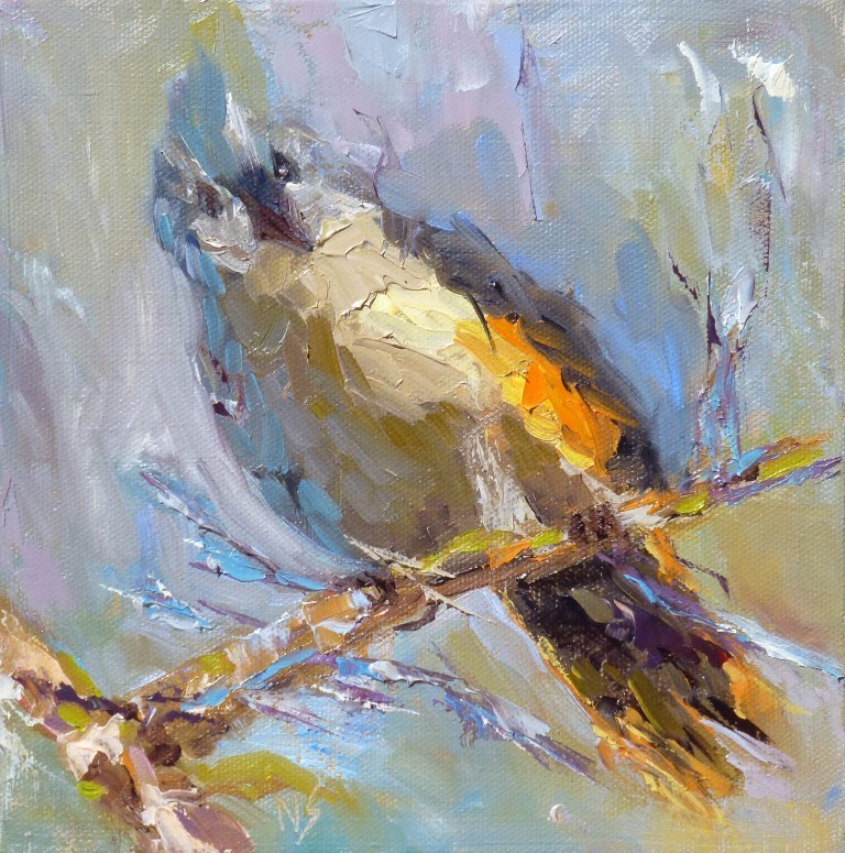 """Tufted Titmouse 15009"" original fine art by Nancy Standlee"