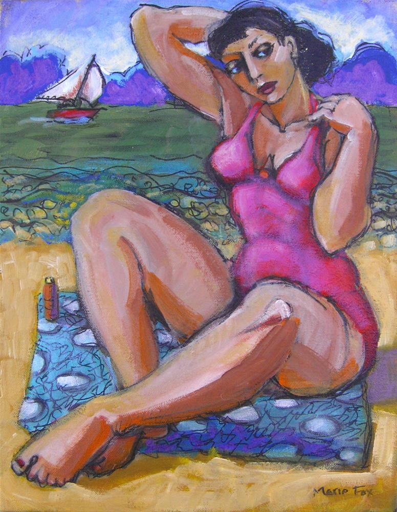 """Sun Lotion, figurative woman painting contemporary figure painter Marie Fox"" original fine art by Marie Fox"