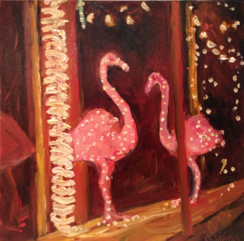 """""""Storefront Flamingos, Day 80"""" original fine art by Claudia L Brookes"""