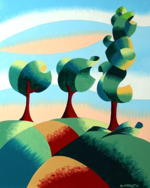 """Mark Webster - Three Trees - Abstract Landscape Oil Painting"" original fine art by Mark Webster"