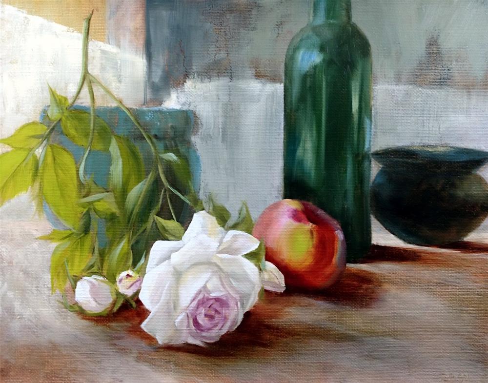 """White Rose Apple Wine Pots"" original fine art by Dalan Wells"