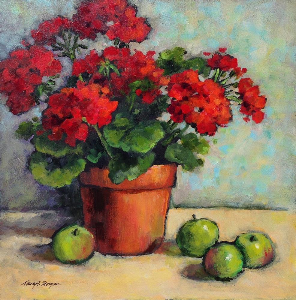 """Geraniums with Green Apples"" original fine art by Nancy F. Morgan"