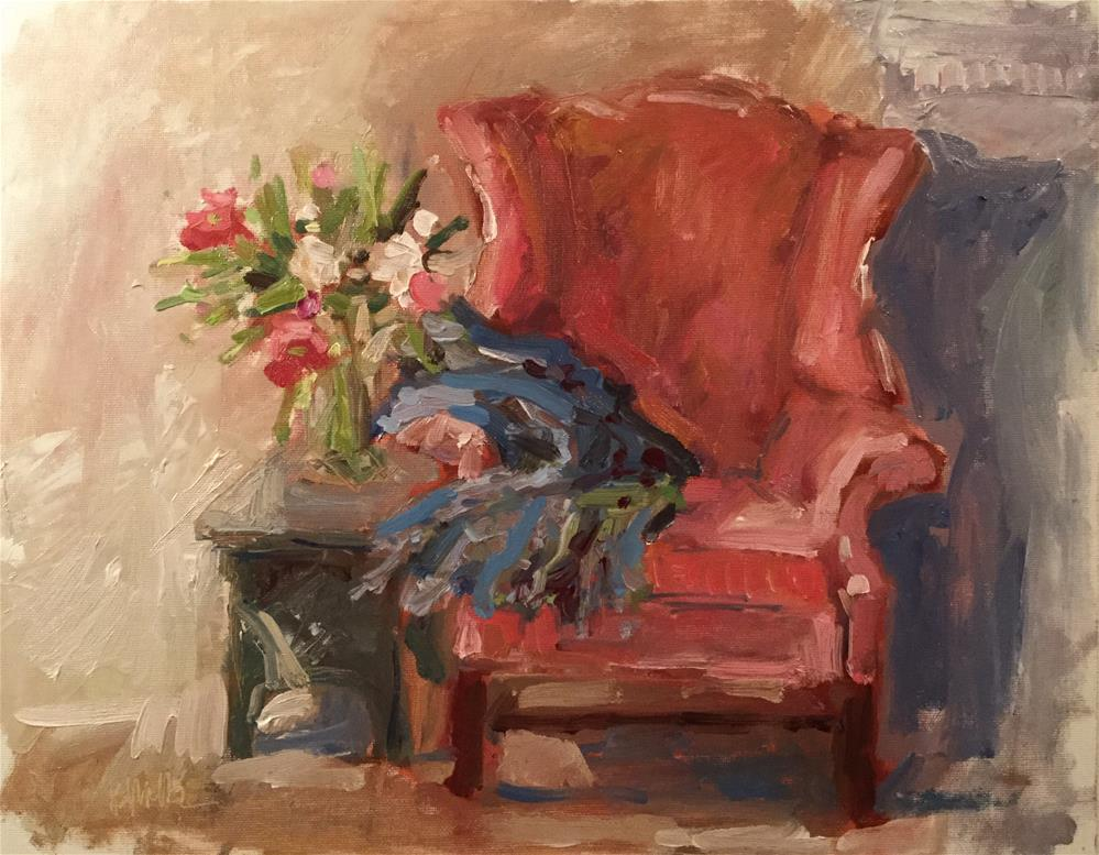 """""""Red Chair with Flowers"""" original fine art by Barb Walker"""