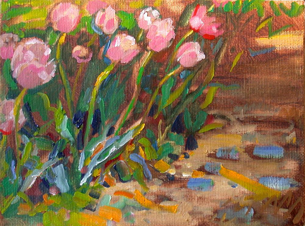 """Tulips at Monticello"" original fine art by Polly Turner"