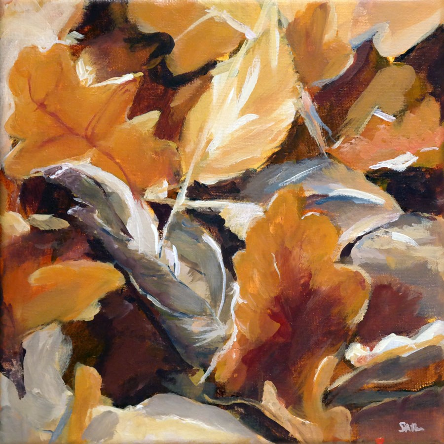 """1167 Painting of Leaves"" original fine art by Dietmar Stiller"