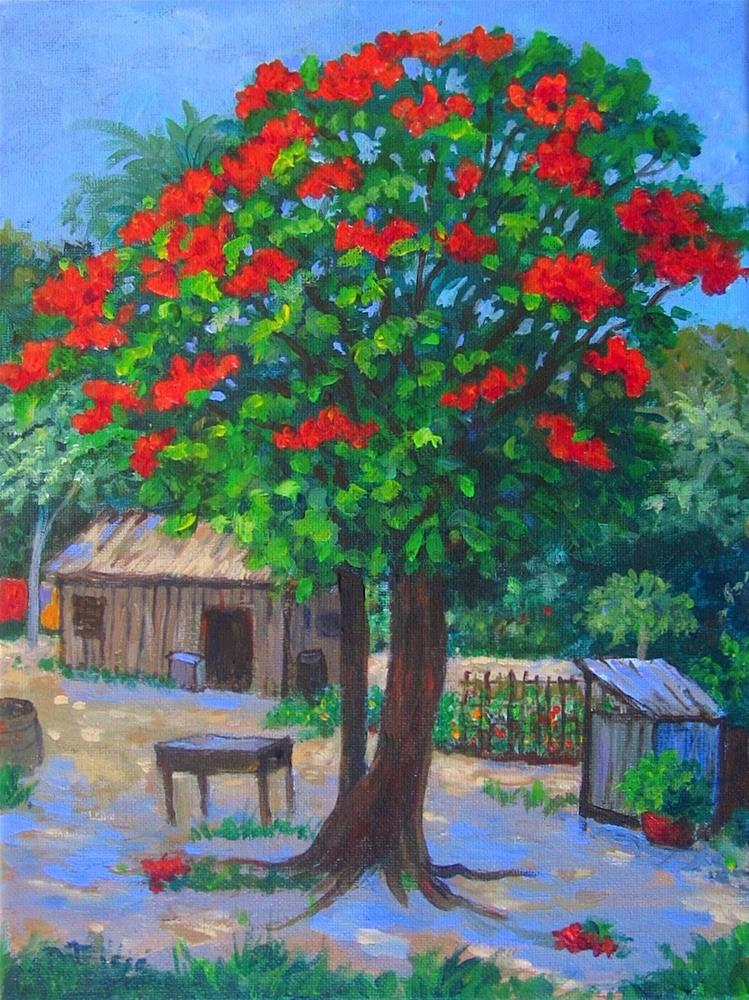 """""""Flame Tree"""" original fine art by Patricia Musgrave"""