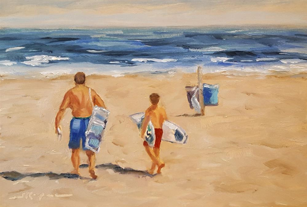 """""""Father and Son Day at the Beach"""" original fine art by Shelley Koopmann"""