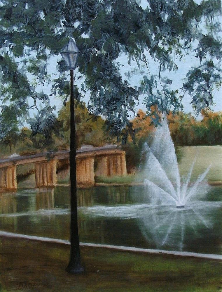 """Fountain, Natchitoches"" original fine art by Lynn Darby"