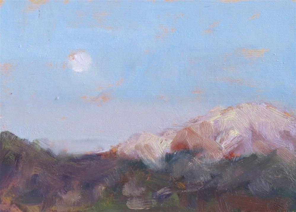 """Moon Set Over The Peak"" original fine art by Pam Holnback"
