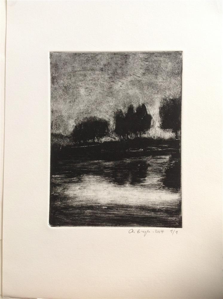 """Night reflection"" original fine art by Christine Bayle"