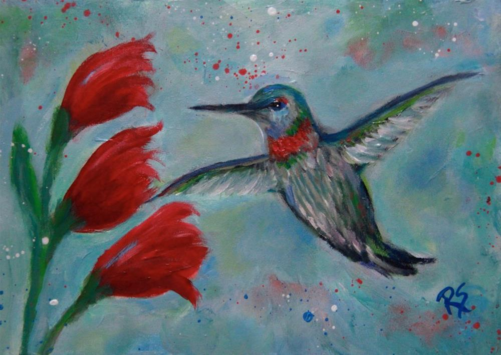 """""""Hummingbird and Blooms"""" original fine art by Roberta Schmidt"""