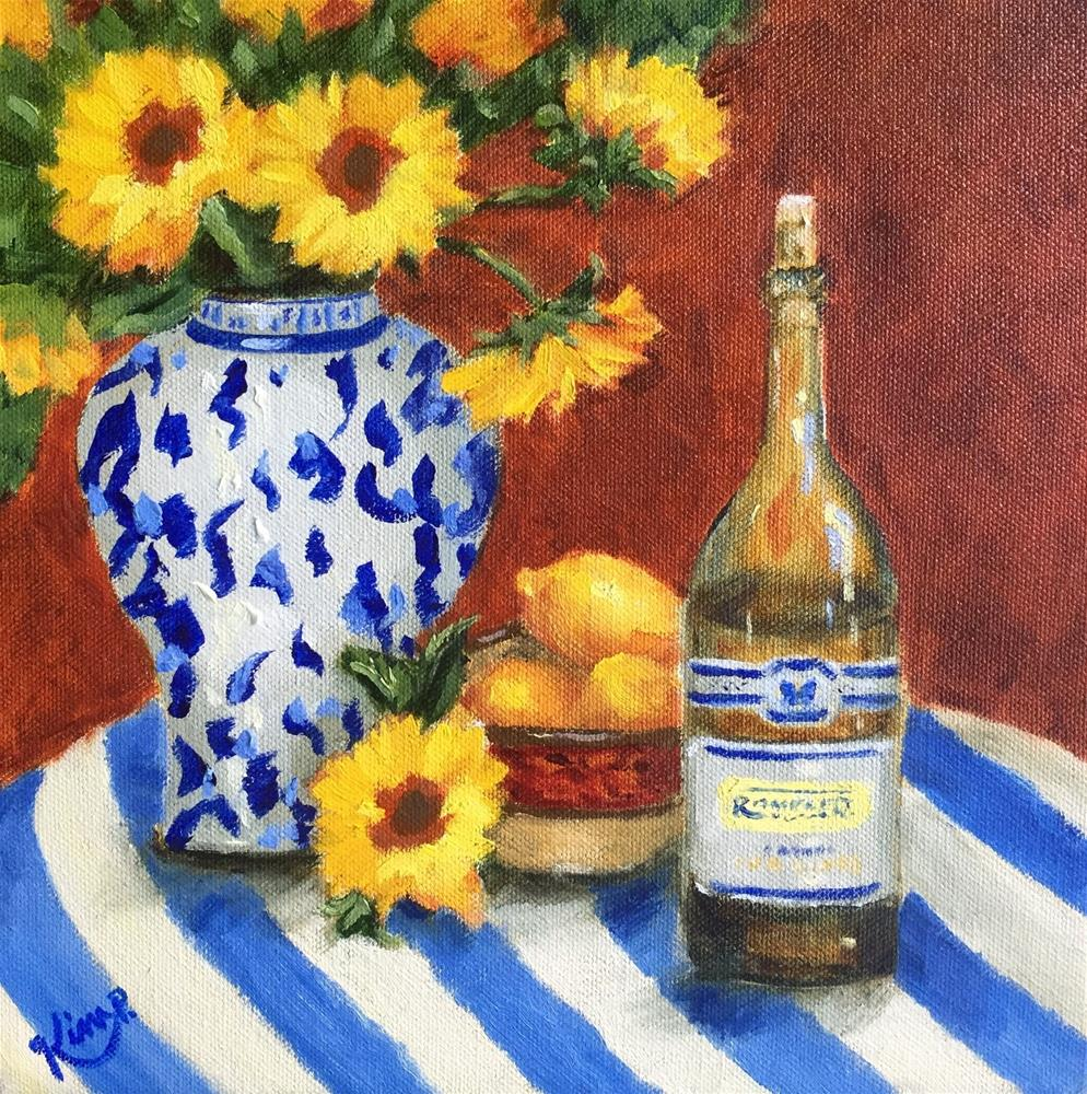 """""""A Few of My favorite Things Still life with sunflowers, lemons, wine, blue and white"""" original fine art by Kim Peterson"""