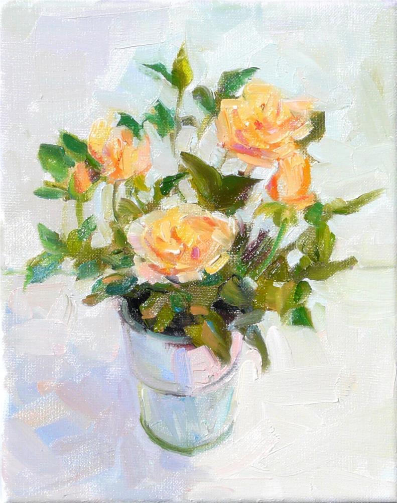 """Memorial Roses,still life,oil on linen,10x8,price$300"" original fine art by Joy Olney"