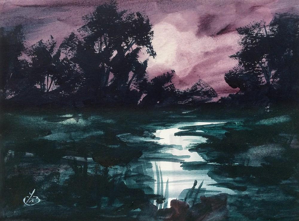 """MOONLIGHT MAGIC"" original fine art by Tom Brown"