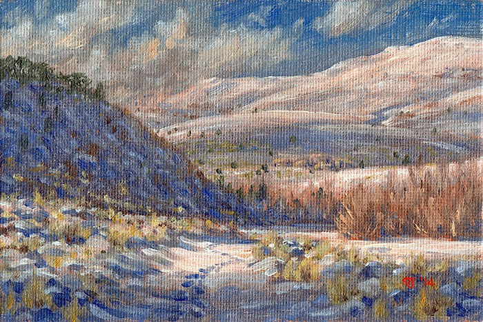 """C1583 Footprints on the Snowy Road (Warner Peak, Hart Mountain, Oregon High Desert)"" original fine art by Steven Thor Johanneson"